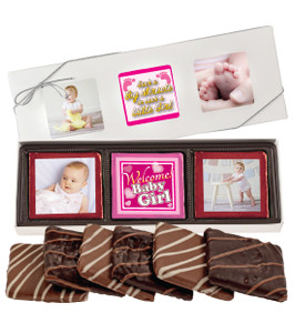 6pc Baby Girl Chocolate Graham Custom Photo Box