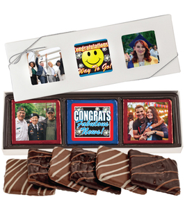 6pc Congratulations Chocolate Graham Custom Photo Box