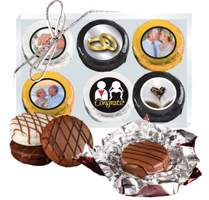 6pc Wedding Chocolate Oreo Custom Photo Cookie Box