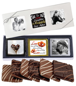 6pc Wedding Chocolate Graham Custom Photo Box