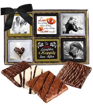 12pc Wedding Chocolate Graham Custom Photo Box