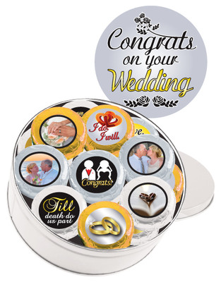 16pc Wedding Chocolate Oreo Custom Photo Cookie Tin