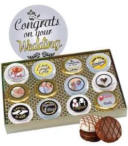 12pc Wedding Chocolate Oreo Custom Photo Cookie Box