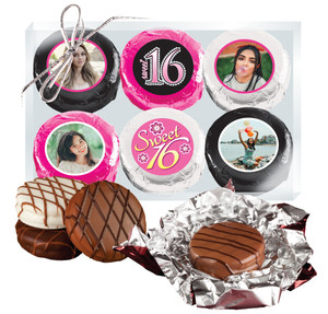 6pc Sweet 16 Chocolate Oreo Custom Photo Cookie Box