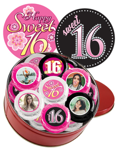 16pc Sweet 16 Chocolate Oreo Custom Photo Cookie Tin