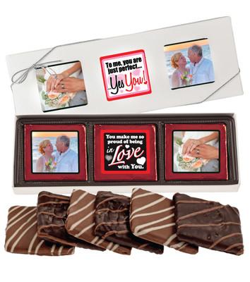6pc Valentine's Day Chocolate Graham Custom Photo Box