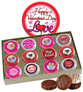 12pc Valentine's Day Chocolate Oreo Custom Photo Cookie Box