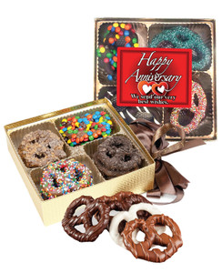 Anniversary Chocolate Covered 16pc Pretzel Gift Box