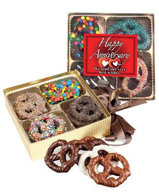 Anniversary Chocolate Covered 16pc Pretzel Gift Box