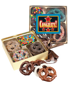 Congratulations Chocolate Covered 16pc Pretzel Gift Box