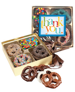 Thank You 16pc Chocolate Covered Pretzel Gift Box