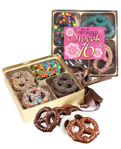 Sweet 16 Chocolate Covered 16pc Pretzel Gift Box
