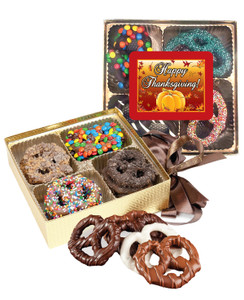 Thanksgiving Chocolate Covered 16pc Pretzel Gift Box