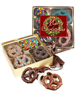 Christmas Chocolate Covered 16pc Pretzel Gift Box
