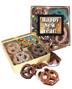 Happy New Year Chocolate Covered 16pc Pretzel Gift Box
