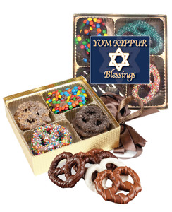 Yom Kippur Chocolate Covered 16pc Pretzel Gift Box