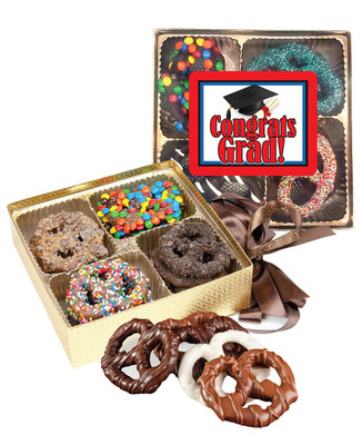 Graduation Chocolate Covered 16pc Pretzel Gift Box