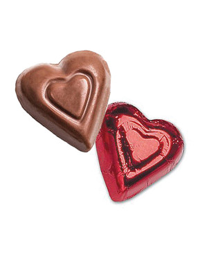 Solid Milk Chocolate Red Hearts