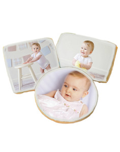Baby Girl Photo Sugar Iced Butter Cookies