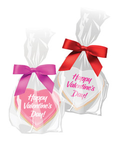 Valentine's Day Iced Sugar Cookie Bag with Ribbon