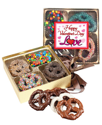 Valentine's Day Chocolate Covered 16pc Pretzel Gift Box - Traditional