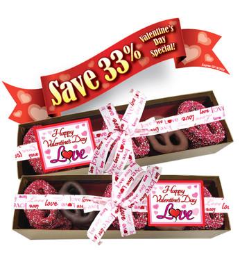 Valentine's Day 20pc Chocolate Pretzel Box - Traditional Label