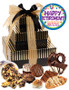 Retirement 3 Tier Tower of Gourmet Treats - Brown/Gold Stripes