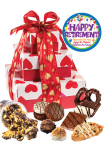 Retirement 3 Tier Tower of Gourmet Treats - Hearts