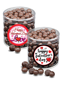 Valentine's Day Dark Chocolate Sea Salt Caramels - Wide Canister