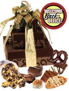 Back to Office 3 Tier Tower of Treats - Brown & Gold