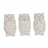 Set of 3 Decorative Owl Figurines, White