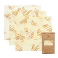 Set of 3 Large Beeswax Wraps, Honeycomb