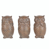 Set of 3 Decorative Owl Figurines, Brown