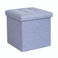 Foldable Fabric Ottoman, Light Blue 38cm