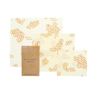 Set of 3 Assorted Size Beeswax Wraps, Honeycomb