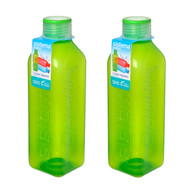 Sistema Set of 2 Square Bottles 1L, Green