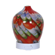 Aroma Art Glass LED Diffuser, Red Swirl