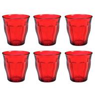 Duralex Set of 6 Picardie Colors Red Tumblers, 25cl