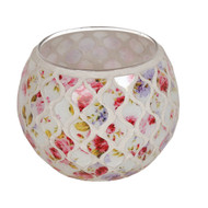 Straits Floral Globe Tealight Holder, Red