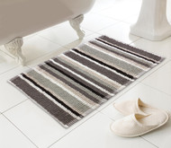 Country Club Bathmat Stripe Black and Natural 50 x 80 cm
