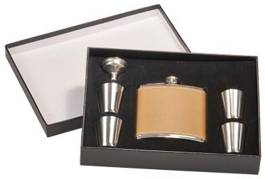 Leather Flask Set w/ Box