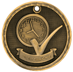 Perfect Attendance 3-D Medal