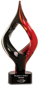 Premier Red and Black Twist Art Glass
