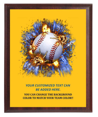 Baseball On Fire Plaque