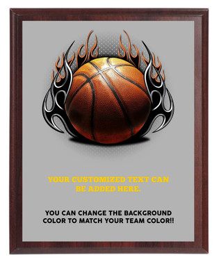 Basketball On Fire Plaque