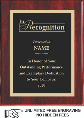 Piano Finish Engraved Plaque