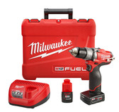 "2404-22 M12 FUEL 1/2"" HAMMER DRILL/DRIVER KIT W/2 BATTERY"