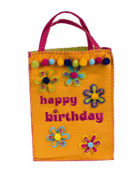 "Pom pom, beads and flowers adorn this fun ""happy birthday"" gift bag.  Durable and strong for loads of loot 8x12 100% poly felt  ! WARNING: CHOKING HAZARD – Small parts. Not for children under 3 years."