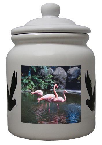 Flamingo Ceramic Color Cookie Jar