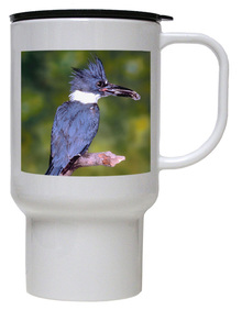 Belted Kingfisher Polymer Plastic Travel Mug